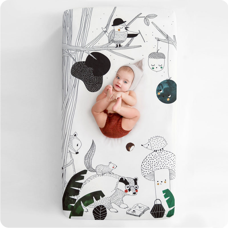 Rookie Humans Cot Sheet - Woodland Dreams 60 x 120cm